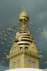 Low angle view of Swayambhunath temple, Kathmandu, Nepal