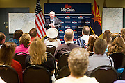 "July 10, 2010 - PHOENIX, AZ: US Senator JOHN MCCAIN (R-AZ) speaks at a town hall meeting in Phoenix. Sen. McCain held a ""town hall"" meeting at a hotel in Phoenix Saturday morning. He criticized the Obama administration's handling of the war in Afghanistan, specifically the July 2011 date for the beginning of the withdrawl of US forces, the administration's handling of the immigration and border security issue and the recently passed health care reform bill, which he called ""Obamacare."" McCain is in a primary battle with former Congressman JD Hayworth, he did not mention Hayworth, by name during the meeting.   Photo by Jack Kurtz"