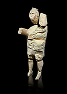 9th century BC Giants of Mont'e Prama  Nuragic stone statue of a boxer, Mont'e Prama archaeological site, Cabras. Museo archeologico nazionale, Cagliari, Italy. (National Archaeological Museum) - Black Background .<br />  <br /> If you prefer to buy from our ALAMY STOCK LIBRARY page at https://www.alamy.com/portfolio/paul-williams-funkystock/nuragic-artefacts.html - Type intoo the LOWER SEARCH WITHIN GALLERY box to refine search by adding background colour, etc<br /> <br /> Visit our NURAGIC PHOTO COLLECTIONS for more photos to download or buy as wall art prints https://funkystock.photoshelter.com/gallery-collection/Nuragic-Nuraghe-Towers-Nuragic-Artefacts-of-Sardinia-Pictures-Images/C0000M6ZtTuHVsSo