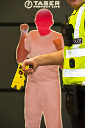 EMBARGOED TILL 16:00 14 DECEMBER 2017<br /> <br /> Pictured: Taser X2<br /> <br /> Deputy Chief Constable Johnny Gwynne was at Tullialan Police College today tol make an announcement on police officer safety with 500 sadditional officers being trained and deployed with tasers to combat the number of incidents where officers are injured.<br /> <br /> Ger Harley   EEm 14 December 2017