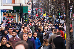 "London, December 23rd 2014. Dubbed by retailers as the ""Golden Hour"" thousands of shoppers use their lunch hour to do some last minute Christmas shopping in London's West End. PICTURED: Thousands of shoppers cram Oxford Street as Christmas shopping reaches its crescendo."