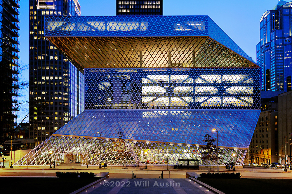 The Seattle Central Library branch of the Seattle Public Library in downtown Seattle Washington, USA.  Opened in 2004 and designed by Rem Koolhaus of OMA in a joint venture with LMN Architects.