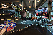 April 1, 2016; Indianapolis, Ind.; Ryan McCarthy rides in a simulator at the Women's Final Four Salute at the Indianapolis Motor Speedway.