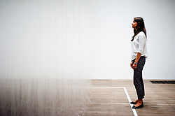 """Mira Schendel at Tate Modern in London. <br /> Tate Modern employee poses next to works entitled """"still waves of probability"""" by Mira Schendel, Tate Modern, London, Tuesday, 24th September 2013. Picture by Piero Cruciatti / i-Images"""