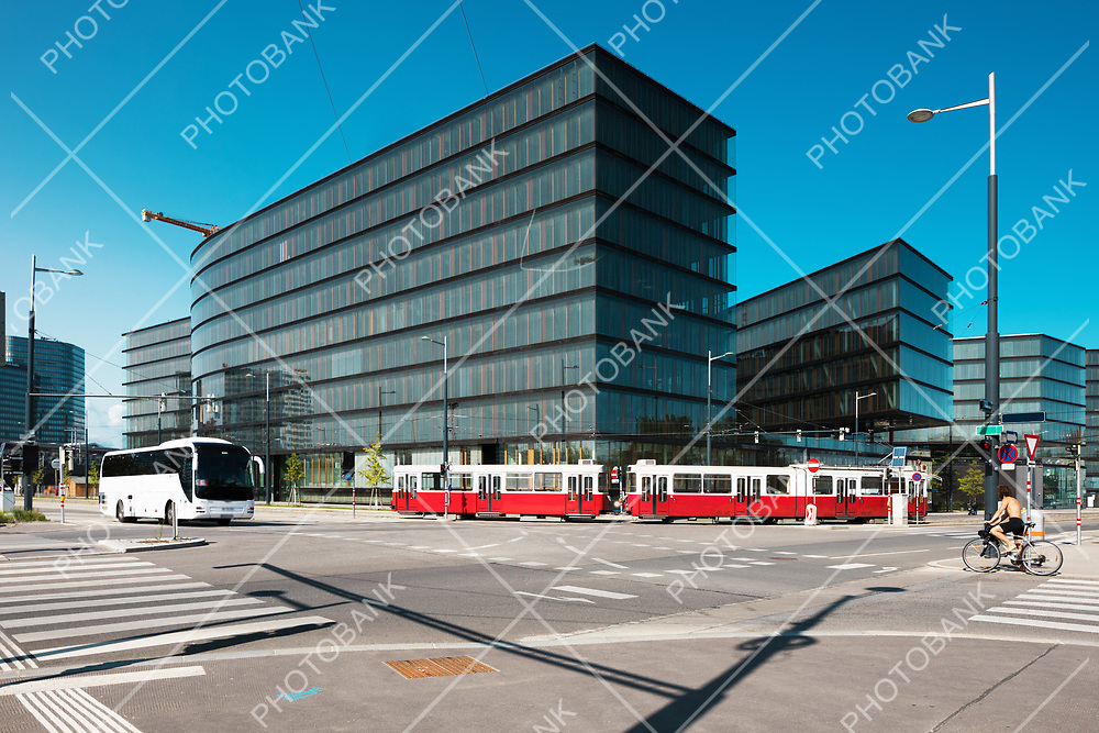 Modern architecture at crossroad in Wien