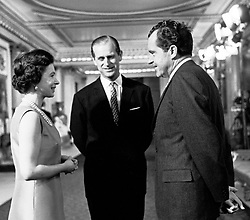 Queen Elizabeth II and Prince Philip, Duke of Edinburgh with American President Richard Nixon, in Buckingham Palace. *Provs & F.O.