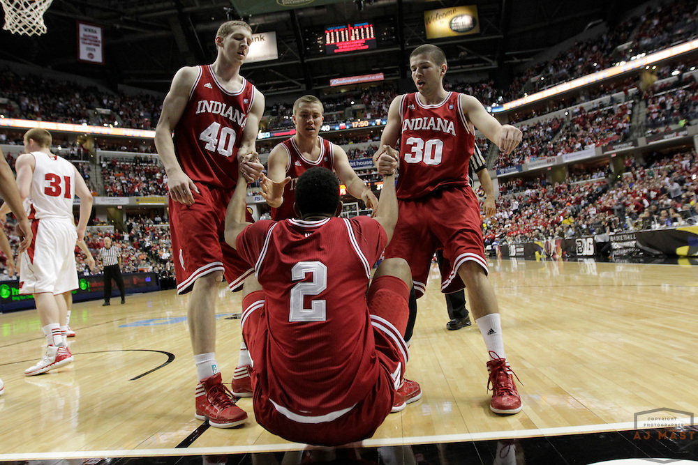09 March 2012: Indiana Forward Cody Zeller (40) , Indiana Guard Jordan Hulls (1) , Indiana Guard Matt Roth (30) , Indiana Forward Christian Watford (2) as the Indiana Hoosiers played the Wisconsin Badgers in a college basketball game during the Big 10 Men's Basketball Championship in Indianapolis