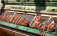 Peeling vintage neon signage outside Ovaltine Cafe, East Hastings Street, Vancouver BC