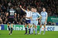 Steve Shingler (12) of London Irish  is red carded by ref Jerome Garces for the tackle on Dafydd Hewitt of the Cardiff Blues.. Heineken cup rugby, pool 2, Cardiff Blues v London Irish at the Cardiff city Stadium in Cardiff, South Wales on Friday 18th Nov2011. pic by Andrew Orchard, Andrew Orchard sports photography,