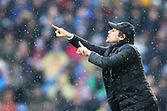 Chelsea Manager Antonio Conte makes his point from the touchline. Premier league match, Burnley v Chelsea at Turf Moor in Burnley, Lancs on Sunday 12th February 2017.<br /> pic by Chris Stading, Andrew Orchard Sports Photography.