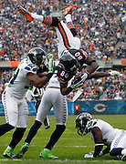 Chicago Bears wide receiver Earl Bennett (80) flips into the end zone for a touchdown against the Seattle Seahawks in the first quarter Sunday, Dec. 2, 2012 at Soldier Field.