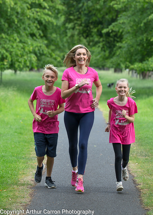 17/6/15 Vivienne Connolly with her son Ben age 11 and daughter Katie age 8 in the Phoenix Park getting ready for the Great Pick Run for Breast Cancer Ireland which takes place on July 29th.  Picture: Arthur Carron