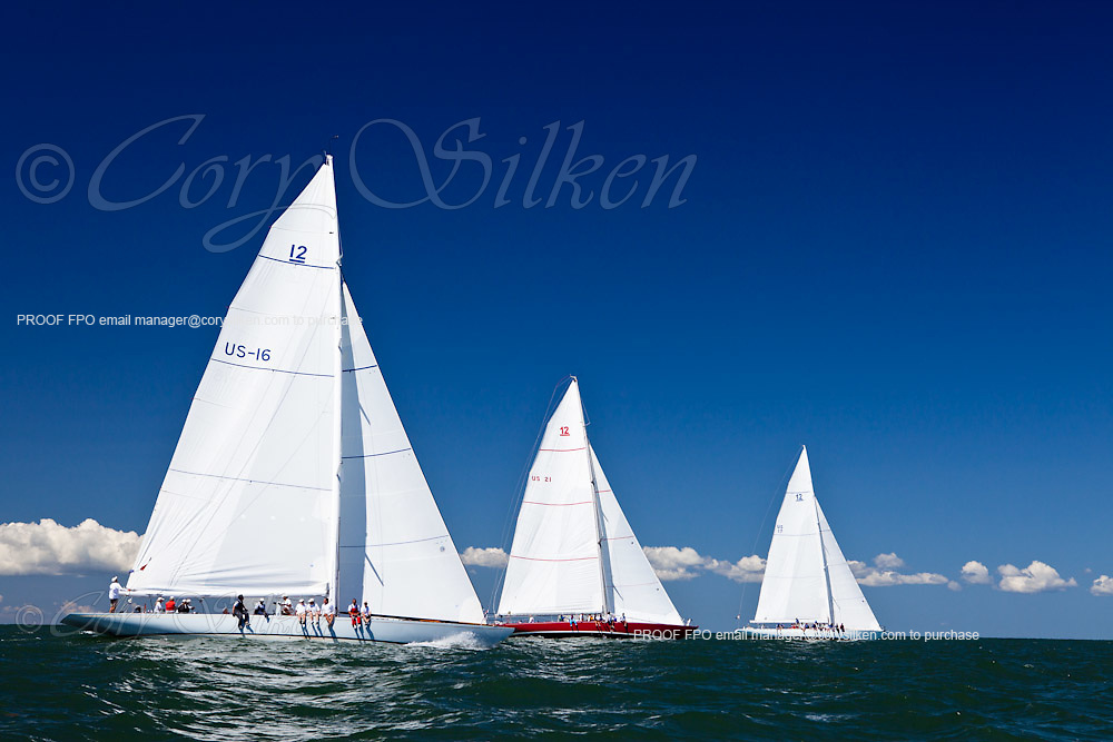 Columbia, American Eagle, and Weatherly sailing in the Nantucket 12 Meter Class Regatta.