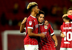 Lloyd Kelly of Bristol City and Freddy Hinds of Bristol City celebrate the 3-2 victory over Watford - Mandatory by-line: Robbie Stephenson/JMP - 22/08/2017 - FOOTBALL - Vicarage Road - Watford, England - Watford v Bristol City - Carabao Cup