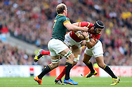Schalk Burger of South Africa pulls the shirt of Luke Charteris of Wales.  Rugby World Cup 2015 quarter final match, South Africa v Wales at Twickenham Stadium in London, England  on Saturday 17th October 2015.<br /> pic by  John Patrick Fletcher, Andrew Orchard sports photography.