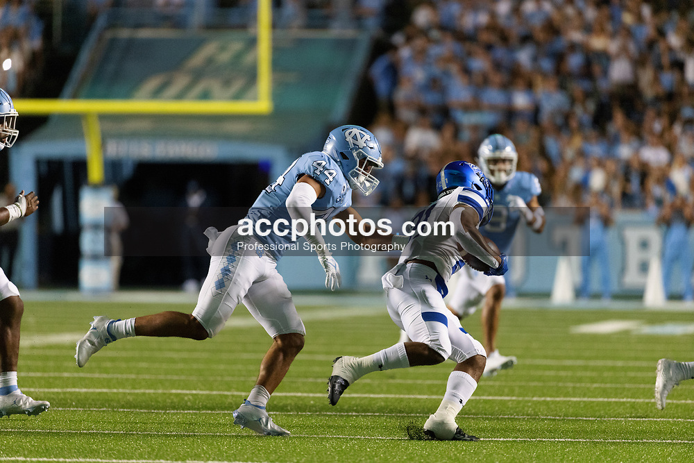 CHAPEL HILL, NC - SEPTEMBER 11: Jeremiah Gemmel #44 of the North Carolina Tar Heels plays during a game against the Georgia State Panthers on September 11, 2021 at Kenan Stadium in Chapel Hill, North Carolina. North Carolina won 59-17. (Photo by Peyton Williams/Getty Images) *** Local Caption *** Jeremiah Gemmel