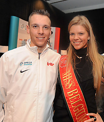 02.02.2011, Omega Pharma, Adegem, BEL, official presentation to the press of Belgian cycling team Omega Pharma-Lotto, im Bild Belgian Philippe Gilbert  of Omega Pharma-Lotto pictured with Miss Belium during the official presentation to the press of Belgian cycling team Omega Pharma-Lotto, Wednesday 02 February 2011, in Adegem. EXPA Pictures © 2011, PhotoCredit: EXPA/ nph/  Laurent Dubrule        ****** out of GER / SWE / CRO  / BEL ******