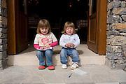 Greece, Macedonia, Prespa lakes, Psarades village local child