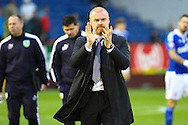Burnley Manager Sean Dyche walks across the pitch prior to kick off. Skybet football league Championship match, Burnley v Ipswich Town at Turf Moor in Burnley, Lancs on Saturday 2nd January 2016.<br /> pic by Chris Stading, Andrew Orchard sports photography.