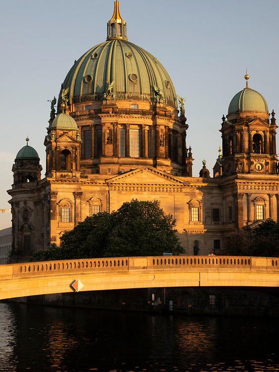 Berlin Cathedral, the Berliner Dom on the Spree river at sunset