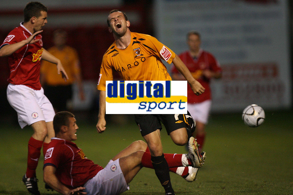 Photo: Rich Eaton.<br /> <br /> Crewe Alexandra v Hull City. Carling Cup. 15/08/2007. Hull's Stuart Elliott cries out after a challenge.