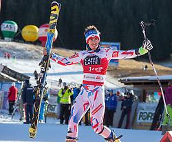 20.12.2015, Gran Risa, La Villa Stern, ITA, FIS Ski Weltcup, Alta Badia, Riesenslalom, Herren, Siegerehrung, im Bild Henrik Kristoffersen (NOR, 2. Platz) // 2nd placed Henrik Kristoffersen of Norway Celebrate on Podium during the award ceremony after men' s Giant Slalom of the Alta Badia FIS Ski Alpine World Cup at the Gran Risa Course in La Villa Stern, Italy on 2015/12/20. EXPA Pictures © 2015, PhotoCredit: EXPA/ Johann Groder