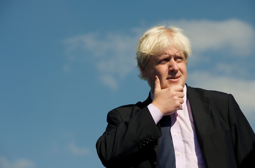 London.  September 26, 2008.  London Mayor Boris Johnson gestures onstage during the Olympic flag handover ceremony in Potter Fields Park for the 2012 games. Lord Sebastian Coe, Olympic Minister Tessa Jowell MP, 400m gold medal winner Christine Ohuruogu, 1948 Olympians, and 2012 hopefuls were also in attendance.  (Photo by Mark Bryan Makela)