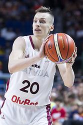 September 17, 2018 - Madrid, Spain - Kaspars Vecvagars of Latvia during the FIBA Basketball World Cup Qualifier match Spain against Latvia at Wizink Center in Madrid, Spain. September 17, 2018. (Credit Image: © Coolmedia/NurPhoto/ZUMA Press)