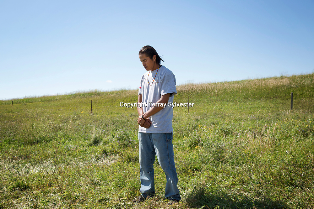 Ryan Strong Elk of the Cheyenne River Sioux Tribe poses for a portrait in the opposition camp against the Dakota Access oil pipeline on August 26, 2016. Cannon Ball, North Dakota, United States.