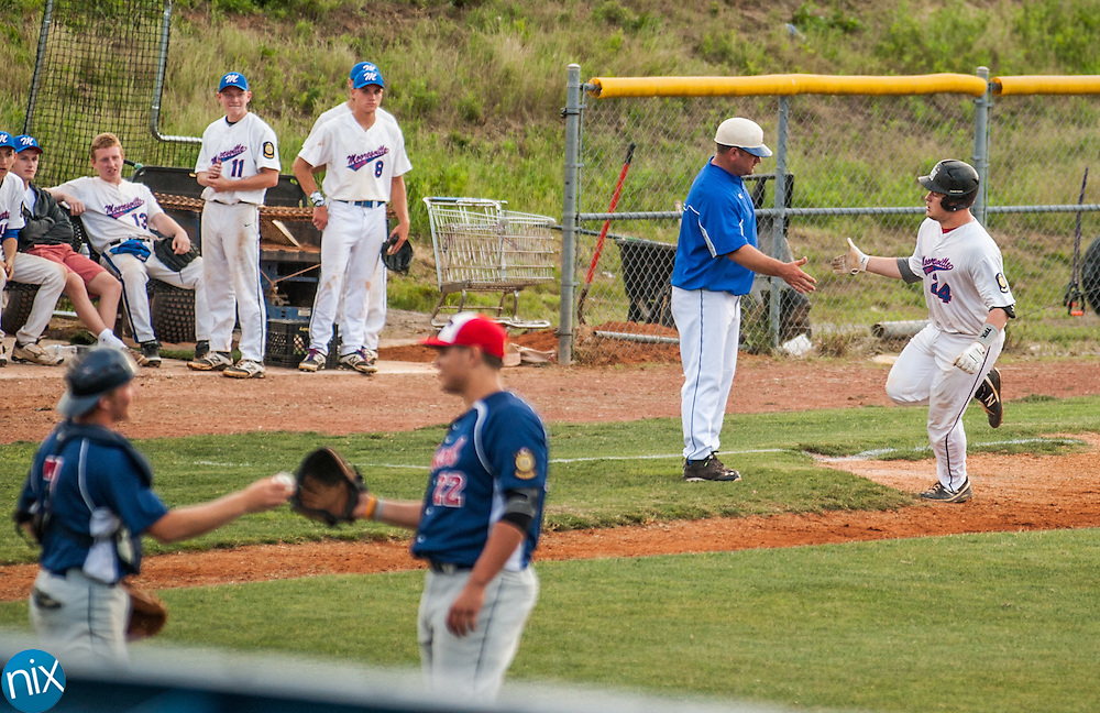 Mooresville Post 66's Jared Stukbauer rounds third after hitting a three-run home run against Concord Post 51 Monday night at Lake Norman High School. Concord won the game 6-5.
