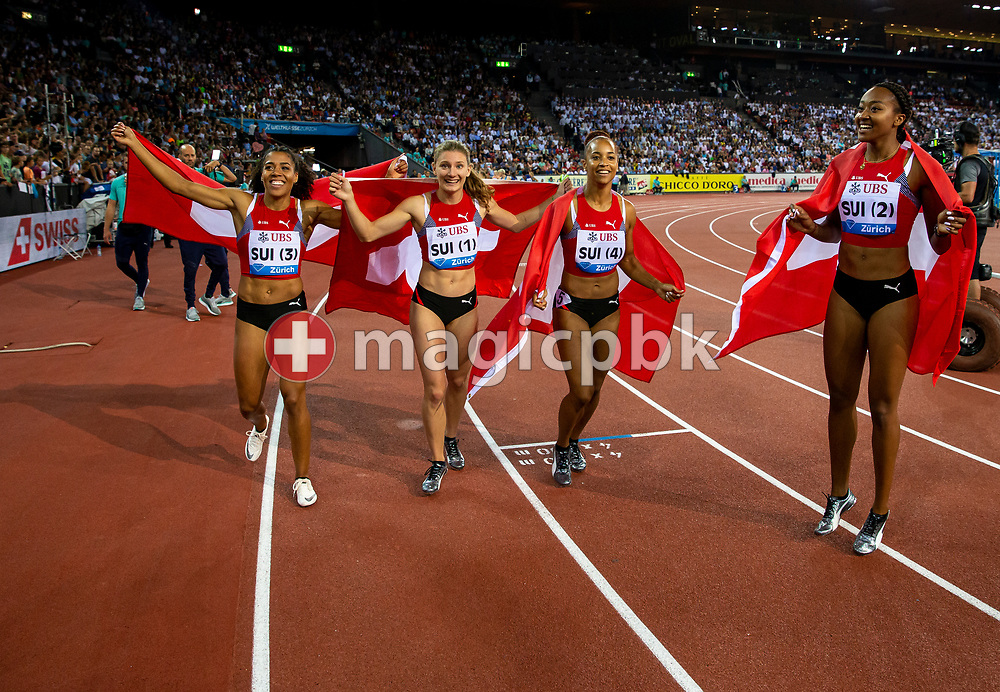 (L-R) Team Switzerland with Mujinga KAMBUNDJI, Ajla del PONTE, Salome KORA and Sarah ATCHO on their lap of honor after competing in the Women's 4x100m Relay - Zurich Trophy - during the Iaaf Diamond League meeting (Weltklasse Zuerich) at the Letzigrund Stadium in Zurich, Switzerland, Thursday, Aug. 29, 2019. (Photo by Patrick B. Kraemer / MAGICPBK)