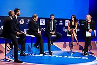 Sport journalist Antonio Lobato, Tv host Nikola Loncar, President of Movistar+ Luis Blasco, Tv host David Carnicero, Tv host Milena Martín and comedian Goyo Jimenez during the presentation of the new season of La Liga Endesa 2016-2017 in Madrid. September 20, 2016. (ALTERPHOTOS/Borja B.Hojas)