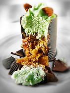 Individual chocolate cake with mint mousse