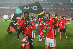 May 13, 2017 - Lisbon, Lisbon, Portugal - Benfica's defender Nelson Semedo from Portugal (L) and Benfica's forward Pizzi from Portugal (R) celebrating the tetra title with his team mates after the match between SL Benfica and Vitoria SC for the Portuguese Primeira Liga at Estadio da Luz on May 13, 2017 in Lisbon, Portugal. (Credit Image: © Dpi/NurPhoto via ZUMA Press)
