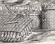 Roman soldier forming a 'tortoise' with their shields, thus enabling them to approach the walls of a besieged city.   From 'Poliorceticon sive de machinis tormentis telis' by Justus Lipsius (Joost Lips) (Antwerp, 1605). Engraving.