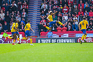 Lyle Taylor of Charlton Athletic (9) scores a goal and celebrates to make the score 1-0 during the EFL Sky Bet League 1 play off first leg match between Doncaster Rovers and Charlton Athletic at the Keepmoat Stadium, Doncaster, England on 12 May 2019.