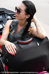 Oksana Bargan of Russia about to head back to Brooklyn, where she now lives, after the Sturgis Motorcycle Rally. SD, USA. Sunday, August 15, 2021. Photography ©2021 Michael Lichter.