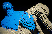The Art of the Brick (in LEGO) by Nathan Sawaya -  over a million pieces of Lego® make up over 80 sculptures, including: replicas of artworks such as The Mona Lisa and Michelangelo's David; personal works in dedicated to 'The Human Condition'; a 'British' room full of exhibits created for London;'Dinosaur', the biggest of all the sculptures created from over 80,000 bricks; and 'Yellow' which Lady Gaga recently commissioned for her G.U.Y. video.  The exhibition runs from 26 Sept 2014 to 04 Jan 2015. The Truman Brewery, Brick Lane, London, UK 24 Sept 2014