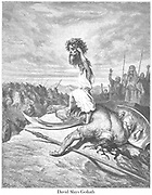 David Slays Goliath From the book 'Bible Gallery' Illustrated by Gustave Dore with Memoir of Dore and Descriptive Letter-press by Talbot W. Chambers D.D. Published by Cassell & Company Limited in London and simultaneously by Mame in Tours, France in 1866