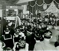 1944 A navy band entertains at the Hollywood Canteen