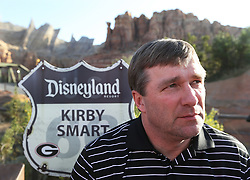 December 27, 2017 - Anaheim, CA, USA - Georgia head coach Kirby Smart takes questions during a news conference at Disney California Adventure Park for the Rose Bowl, on Wednesday, Dec. 27, 2017, in Anaheim, Calif. (Credit Image: © Curtis Compton/TNS via ZUMA Wire)