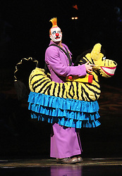 © London News PIctures. Horse; Tall Clown; Pablo Bermejo at Cirque Du Soleil Alegria opening night, O² Arena, London UK, 18 July 2013. Photo credit: Richard Goldschmidt/LNP