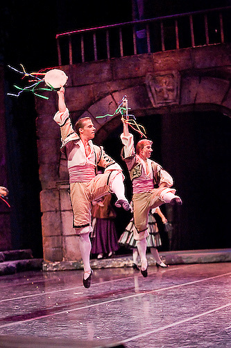 Dancers of the Tulsa Ballet perform Don Quixote...Choreography: Anna-Marie Holmes after Marius Petipa..Based on the book by Miguel de Cervantes, this 19th century classical ballet was originally choreographed by Marius Petipa. ..Tulsa Performing Arts Center, Tulsa, Oklahoma -- September 2008