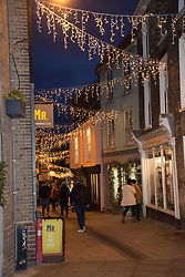 Lower Goat Lane with Christmas lights, Norwich UK November 2019