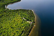 Aerial view of the Eagle Bluff Lighthouse, Peninsula State Park, Door County, Wisconsin, between the villages of Fish Creek and Ephraim.