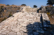 Archaeological site of the ancient city of Troy, Turkey 1997 paved ramp at gate of Propylon  entrance