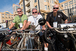 Kelly Modlin (L) of Kansas on his 1914 Excelsior next to Rick Salisbury of Utah on this 1916 Excelsior and Kyle Rose also of Utah and on a 1916 Excelsior on the Atlantic City boardwalk at the start of the Motorcycle Cannonball Race of the Century. Stage-1 from Atlantic City, NJ to York, PA. USA. Saturday September 10, 2016. Photography ©2016 Michael Lichter.