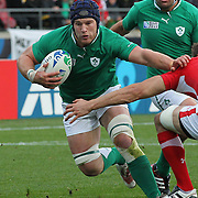 """Sean O""""Brien, Ireland, in action during the Ireland V Wales Quarter Final match at the IRB Rugby World Cup tournament. Wellington Regional Stadium, Wellington, New Zealand, 8th October 2011. Photo Tim Clayton..."""