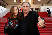 """Gerard Depardieu and Isabelle Hupert leave """" Valley of love """" premiere during the 68th annual Cannes Film Festival on May 22, 2015 in Cannes, France"""