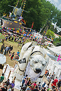 Vivienne Westwood visits the Greenpeace area which includes a huge mock uo of the Arctic Sunrise, an exhibition of images aof the imprisoned Arctic 30 and a giant animatronic polar bear (pictured) - all aimed at 'Saving the Arctic'. The 2014 Glastonbury Festival, Worthy Farm, Glastonbury. 27 June 2013.